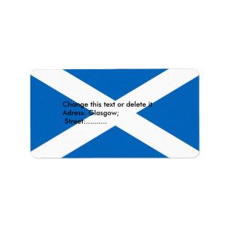 Etiqueta de encargo con la bandera de Escocia Etiqueta De Dirección