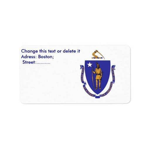 Etiqueta de encargo con la bandera de etiqueta de dirección