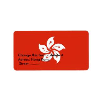 Etiqueta de encargo con la bandera de Hong Kong Etiquetas De Dirección