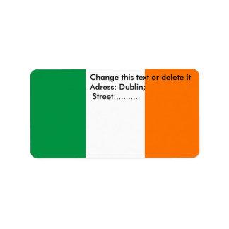 Etiqueta de encargo con la bandera de Irlanda Etiquetas De Dirección