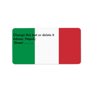 Etiqueta de encargo con la bandera de Italia Etiqueta De Dirección