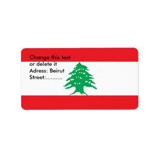 Etiqueta de encargo con la bandera de Líbano Etiqueta De Dirección