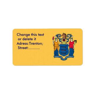 Etiqueta de encargo con la bandera de New Jersey, Etiqueta De Dirección