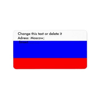Etiqueta de encargo con la bandera de Rusia Etiqueta De Dirección