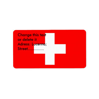 Etiqueta de encargo con la bandera de Suiza Etiquetas De Dirección