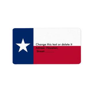 Etiqueta de encargo con la bandera de Tejas, los Etiquetas De Dirección