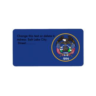 Etiqueta de encargo con la bandera de Utah, los Etiquetas De Dirección