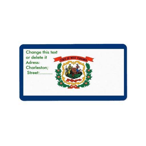 Etiqueta de encargo con la bandera de Virginia Occ Etiquetas De Dirección