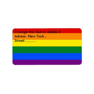 Etiqueta de encargo con la bandera del arco iris etiquetas de dirección