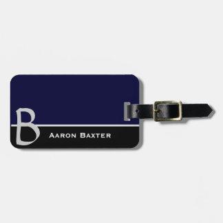 Etiqueta de encargo con monograma azul marino del etiquetas para maletas