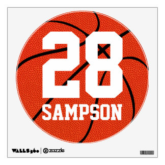 Etiqueta de encargo de la pared del baloncesto