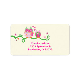 Etiqueta de encargo del búho de la mamá y del bebé etiqueta de dirección