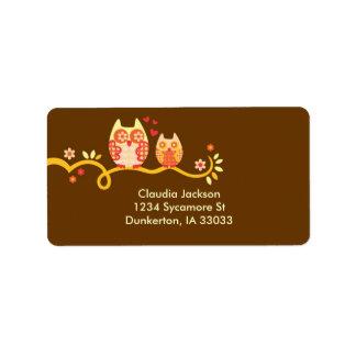 Etiqueta de encargo del búho de la mamá y del bebé etiquetas de dirección
