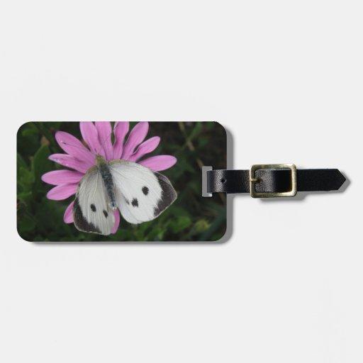 Etiqueta de encargo del equipaje de la mariposa y  etiquetas para maletas