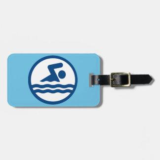 Etiqueta de encargo del equipaje de la natación etiquetas bolsas