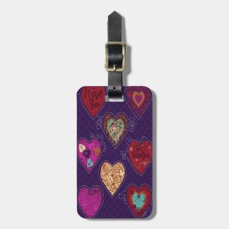 Etiqueta de encargo del equipaje de los corazones etiquetas de equipaje