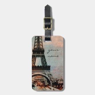 Etiqueta de encargo del equipaje de París de la to Etiquetas De Maletas