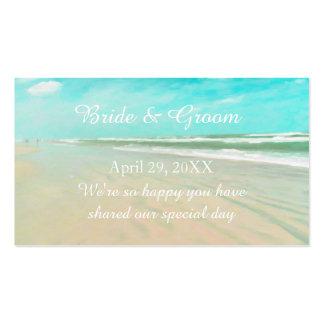 Etiqueta de encargo del favor del boda de playa de tarjetas de visita
