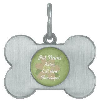 Etiqueta de encargo del mascota de la flor linda placas de nombre de mascota