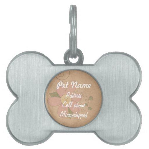 Etiqueta de encargo del mascota de la flor rosada placa de nombre de mascota
