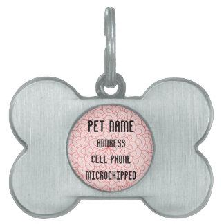 Etiqueta de encargo del mascota de la flor rosada placas de nombre de mascota