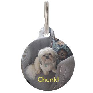 Etiqueta de encargo del mascota de la foto con identificador para mascota