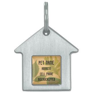 Etiqueta de encargo del mascota de las hojas placa mascota