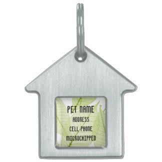 Etiqueta de encargo del mascota de las hojas placa de nombre de mascota