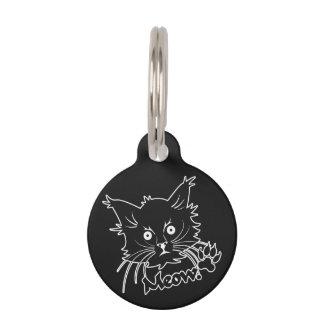 Etiqueta de encargo del mascota del gato negro placas para mascotas