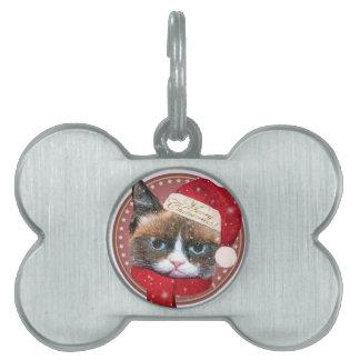 Etiqueta de encargo del mascota del navidad del placa de nombre de mascota