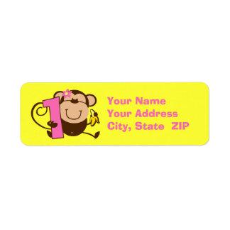 Etiqueta de encargo del pequeño del mono 1r chica etiquetas de remite