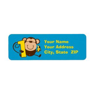 Etiqueta de encargo del pequeño del mono 1r muchac etiquetas de remite