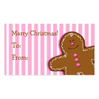 Etiqueta de encargo del regalo del pan de jengibre tarjetas de visita