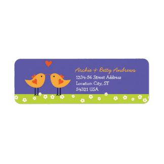 Etiqueta de encargo del remite de los pájaros del etiqueta de remite
