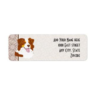 Etiqueta de encargo del remite del tri perro etiqueta de remitente