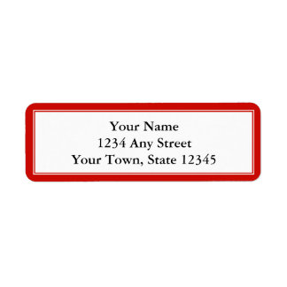Etiqueta de encargo del rojo cereza y blanca del r etiqueta de remitente