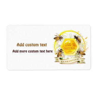 Etiqueta de encargo del tarro del panal de la etiqueta de envío