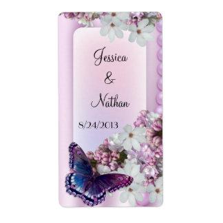 Etiqueta de encargo del vino de la mariposa y del  etiqueta de envío
