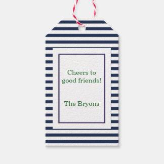 Etiqueta de encargo del vino de la raya azul etiquetas para regalos
