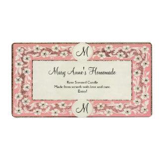 Etiqueta de encargo floral del monograma rosado etiqueta de envío