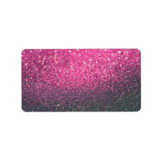 Etiqueta de encargo - Lit rosado Nite Glit Etiquetas De Dirección