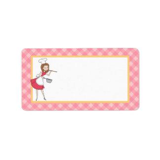 Etiqueta de encargo personalizada del cocinero en etiquetas de dirección