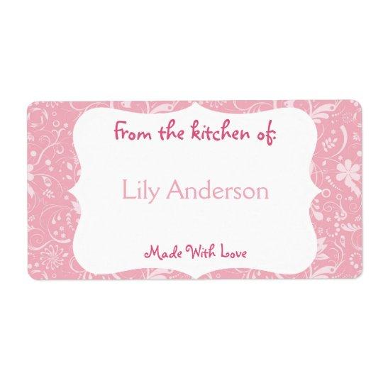 Etiqueta de enlatado caprichosa rosada etiqueta de envío