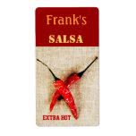 etiqueta de enlatado de la salsa de las pimientas  etiqueta de envío
