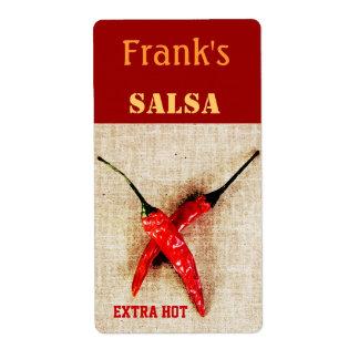 etiqueta de enlatado de la salsa de las pimientas  etiquetas de envío