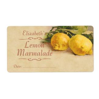 Etiqueta de enlatado del limón etiquetas de envío