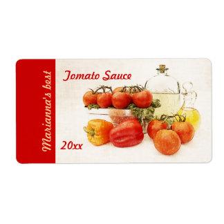 Etiqueta de enlatado del tomate o de la salsa para etiqueta de envío