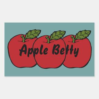 Etiqueta de enlatado manzanas del tarro rojo de