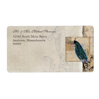 Etiqueta de envío a juego del pavo real antiguo -