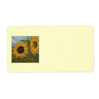 Etiqueta de envío amarilla del girasol de París